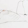Reclining female nude by Egon Schiele