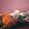 Reclining Nude With Striped Pants by Gideon Cohn