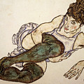 Reclining Woman With Green Stockings by Egon Schiele