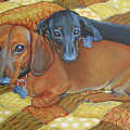 Red And Black Dachshunds - Best Buds by Rebecca Korpita