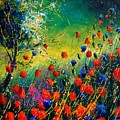 Red And Blue Poppies  by Pol Ledent