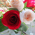 Red And Cream Tea Roses In Crystal by Jean Costa