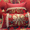 Red And Gold Decorative Pillows by Amelia Painter