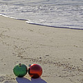 Red And Green Bulbs In The Surf Verticle by Michael Thomas