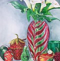 Red And Green Composition by Jane Loveall