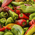 Red And Green Peppers by Bob Phillips