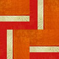 Red And Orange Square Study by Michelle Calkins