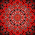 Red And Silver Mandala Abstract  by Sheila Wenzel