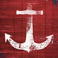 Red and White Anchor- Art by Linda Woods by Linda Woods