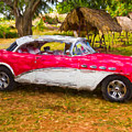Red And White Buick 1957 by Les Palenik