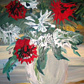 Red And White Flowers By Ralph by Art Without Boundaries