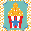 Red And White Popcorn Box With Blue Star by MM Anderson