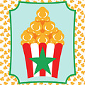 Red And White Popcorn Box With Green Star by MM Anderson
