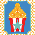 Red And White Popcorn Box With Turquoise Star by MM Anderson