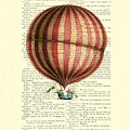 Red And White Striped Hot Air Balloon Antique Photo by Madame Memento