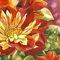Red And Yellow Dahlias Watercolor by Alfred Ng