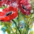 Red Anemone Flowers by Sabina Von Arx