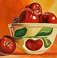 Red Apples In Vintage Watt Yellowware Bowl by Toni Grote