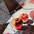 Red Apples On A Flat Vase by Evguenia Men