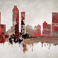 Red Atlanta Georgia Skyline by Dan Sproul