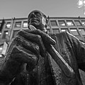 Red Auerbach Chilling At Fanueil Hall Black And White by Toby McGuire