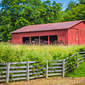 Red Barn Along The Fence by Terri Morris