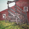 Red Barn And Cattle Ramp by L A Raven