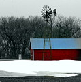 Red Barn And Windmill by Julie Lueders