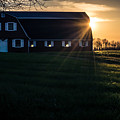 Red Barn At Sunset by Ray Sheley