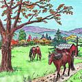 Red Barn Horses Autumn Ranch  by Irina Sztukowski