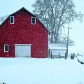 Red Barn In Snow by Anthony Djordjevic