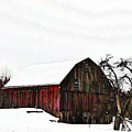 Red Barn In Snow by Bill Cannon