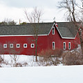 Red Barn In Snow by Brian MacLean