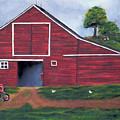 Red Barn In South Dakota by Mendy Pedersen