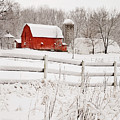Red Barn In Winter by Jill Love