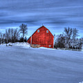 Red Barn In Winter by Laurie Prentice
