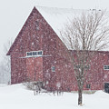 Red Barn Nor'easter  by Alan L Graham