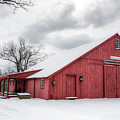 Red Barn On Wintry Day by Donna Doherty
