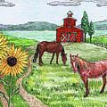 Red Barn Sunflowers Horses by Irina Sztukowski