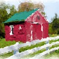 Red Barn Vermont Watercolor by Ralph Liebstein
