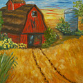 Red Barn- Wheat Field- Down Home by Kathy  Symonds