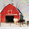 Red Barn With Horses - V3 by Les Palenik