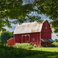 Red Barn With White Arched Door Trim by Priscilla Burgers