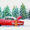 Red Belair In The Snow - Painting by Ericamaxine Price