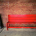 Red Bench Behind Stop And Shop 2018 by Frank Romeo