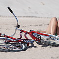 Red Bike On The Beach by Rob Hans