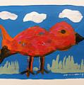 Red Bird In Grass by John Williams