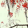 Red Blossom Tree On Handmade Paper by Lucy Baldwin