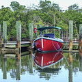 Red Boat Docked Florida by Edward Fielding