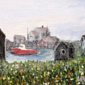 Red Boat In Peggys Cove Nova Scotia  by Ian  MacDonald